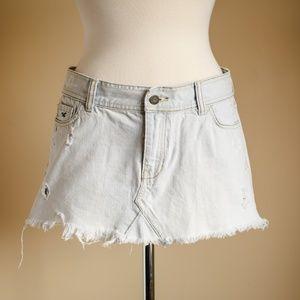 Hollister Light Denim Short Frayed Skirt